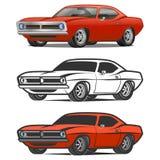 Muscle car cartoon classic vector poster t-shirt print Stock Photo
