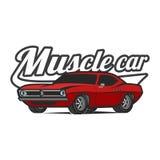 Muscle car cartoon classic vector poster t-shirt print Stock Image