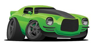 Muscle Car Cartoon Illustration. Hot American muscle car cartoon. Bright green with black stripe, aggressive stance, low profile, big tires and blacked out stock illustration