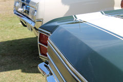 Muscle car detail. Classic American muscle car detail. green Dodge Dart GTS with white striping at public event in south Florida, 2014 Royalty Free Stock Image
