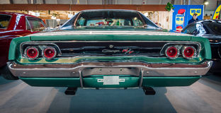 Muscle car Dodge Charger R/T, 1968. STUTTGART, GERMANY - MARCH 17, 2016: Muscle car Dodge Charger R/T, 1968. Rear view. Europe's greatest classic car exhibition Royalty Free Stock Photo