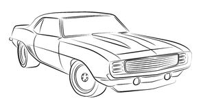 Muscle car drawing Stock Photography