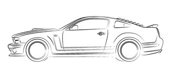 Muscle car drawing. American muscle car digital drawing Royalty Free Stock Photo