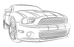Muscle car drawing. American muscle car digital drawing Royalty Free Stock Photos