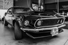 Muscle car Ford Mustang Boss 429 Fastback. BERLIN, GERMANY - MAY 17, 2014: Muscle car Ford Mustang Boss 429 Fastback (1969). Black and white. 27th Oldtimer Day Stock Photo