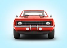 Muscle car front view on blue gradient background 3d royalty free illustration