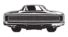 Muscle Car Front View. Front view of a 1960s muscle car Royalty Free Stock Photography