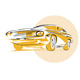 Muscle Car. Hand drawn Vector Artwork royalty free illustration