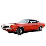 Muscle car. Hot red. Vector illustration Royalty Free Stock Image