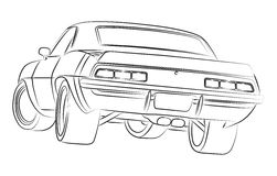 Muscle car ilustration. American muscle car  ilustration Stock Photography