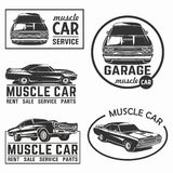 Muscle car logo emblem big set vector Royalty Free Stock Images