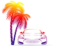 Muscle car near the palm Royalty Free Stock Photography