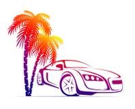 Muscle car near the palm Stock Photos