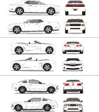 Muscle car outline template. American stock illustration
