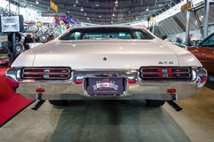 Muscle car Pontiac GTO, 1969. STUTTGART, GERMANY - MARCH 03, 2017: Muscle car Pontiac GTO, 1969. Rear view. Europe`s greatest classic car exhibition `RETRO Royalty Free Stock Images