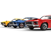 Muscle cars in primary colors Royalty Free Stock Photo