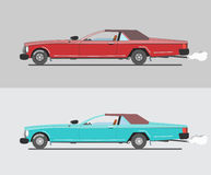 Muscle cars, red and Turquoise Stock Photo