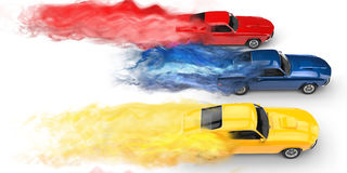 Muscle cars smoke trails Royalty Free Stock Photo