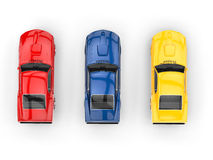 Muscle cars - top view - primary colors Stock Photos