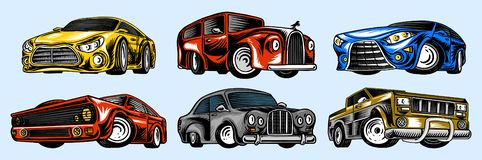 Muscle cars and vintage transports for logo and labels. Set of retro old school auto service. Collection of classic vector illustration