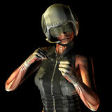 Muscle fighting policewoman. 3D Rendering Muscle fighting policewoman Royalty Free Stock Photo