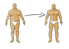Muscle gaining - fat to fit. Illustration showing progress of gaining muscle stock illustration