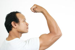 Muscle guy 1. Asian guy series on white background Stock Images