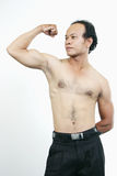 Muscle guy 11. Asian guy series on white background Stock Photos