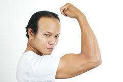 Muscle guy 6. Asian guy series on white background Stock Photos
