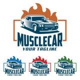Muscle il logo dell'automobile, il retro stile di logo, logo d'annata illustrazione di stock