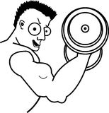 Muscle Man. Vector illustration of a weight lifter doing bicep curls Royalty Free Stock Image