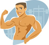 Muscle man. Naked Muscle man in a gym Stock Photo