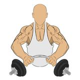 Muscle man with barbell. body building concept vector drawing illustration royalty free stock photo