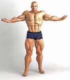 Muscle Man Body Builder Pose Stock Image