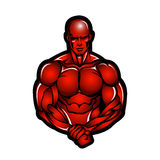 Muscle man bodybuilder illustration Royalty Free Stock Images