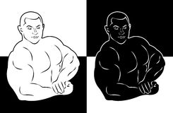 Muscle man bodybuilder vector illustration icon Royalty Free Stock Photography