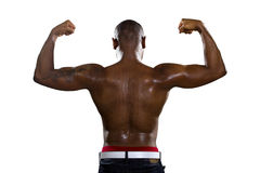 Muscle Man Flexing Back Muscles Stock Photography