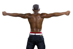 Muscle Man Flexing Back Muscles Royalty Free Stock Photography