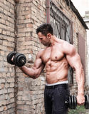 Muscle man. In front of brick wall stock photo