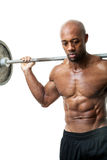 Muscle Man Holding Barbell Royalty Free Stock Photos