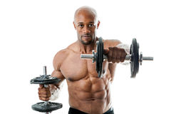 Muscle Man Holding dumbell Stock Photo
