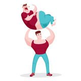 Muscle man holding fat man. Heavy Training, muscle man holding fat man vector illustration
