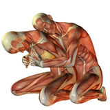 Muscle man hugging woman from behind. 3D rendering muscle man hugging woman from behind Royalty Free Stock Images