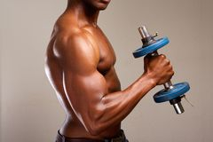 Muscle man lifting weights. Portrait of a muscle man lifting weights stock photo