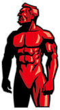 Muscle man mascot standing Royalty Free Stock Photo