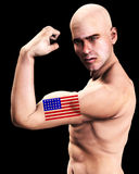 Muscle Man US 6. A man with the American flag tattooed on his body, a great image for every patriotic American Royalty Free Stock Photo