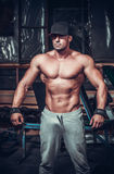 Muscle man who is posing. In club Royalty Free Stock Photography