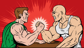 Muscle men arm wrestling. Stock Image