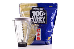 Muscle Milk Whey Protein. Shake Mix with Blender Stock Photo