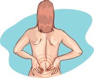 Muscle o grampo e a dor lombar na parte traseira da mulher despida Fêmea nova que toca em sua parte traseira dolorosa Imagens de Stock